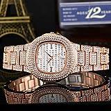Reloj de cuarzo con diamantes completos, reloj de puntero impermeable para mujer, correa de acero inoxidable gjkl/Oro rosa