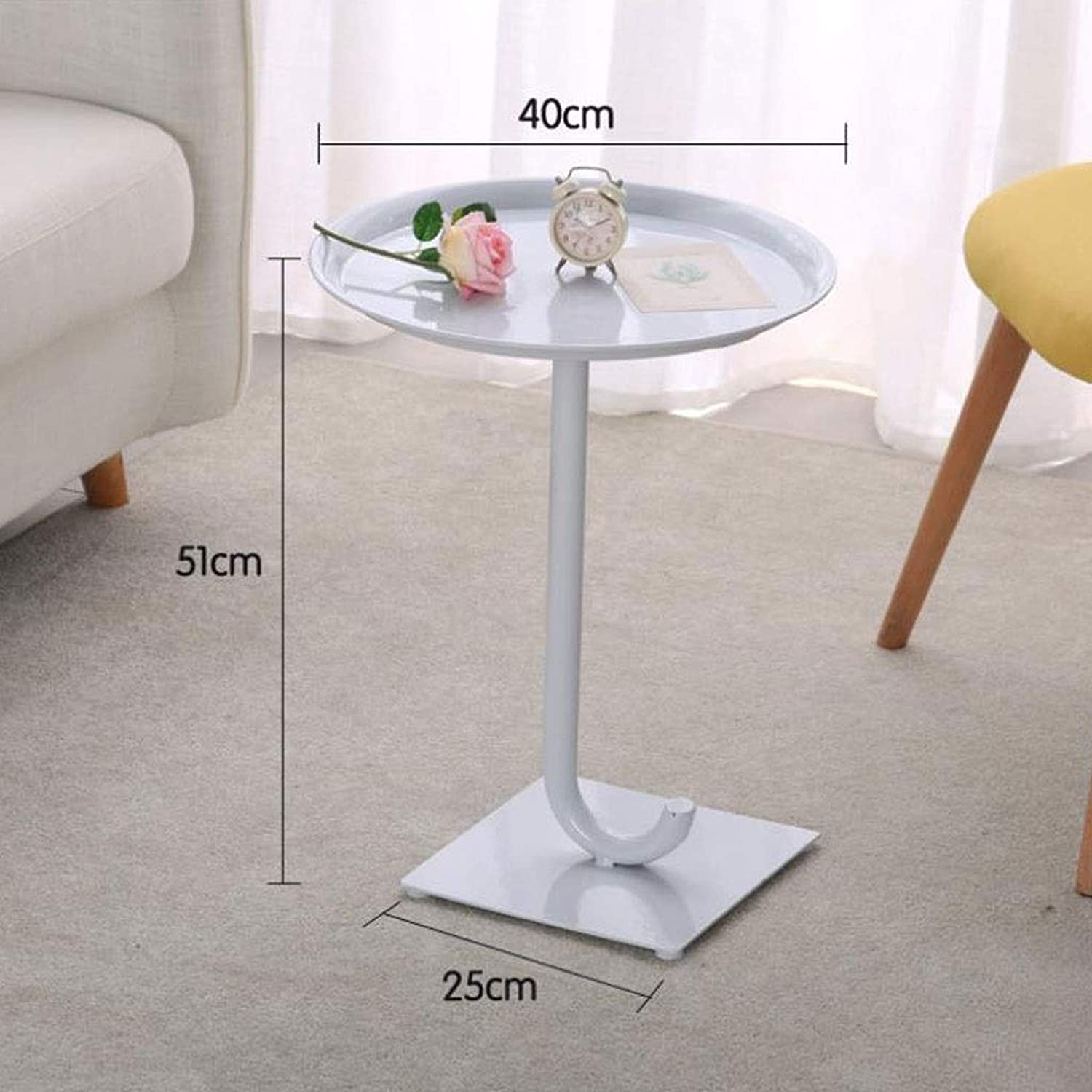 T-Day End Tables Bedside Table Side Table Small Modern Metal Side Table Coffee Table, Easy to Assemble Round Living Room Sofa Furniture (color   White, Size   40CM)