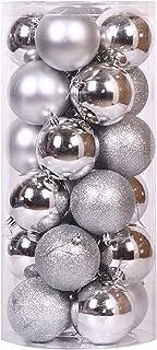 Shatterproof Christmas Ornaments, Christmas Tree Plastic Decoration Balls, Silver Christmas Ball Ornaments Shatterproof Se...