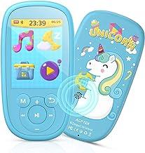 AGPTEK Reproductor Mp3 Bluetooth para Niños, K2 MP3 Niños con HD Pantalla de 2.4 Pulgada, Altavoz Interna, Ruido Blanco y Radio FM, Azul