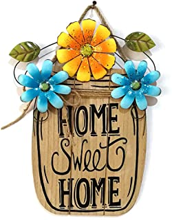 Asdomo Wooden DIY Welcome Sign for Front Door Home Decoration, Flower Decor Hanging Pendant Tags Craft Sig Home Wall Door ...
