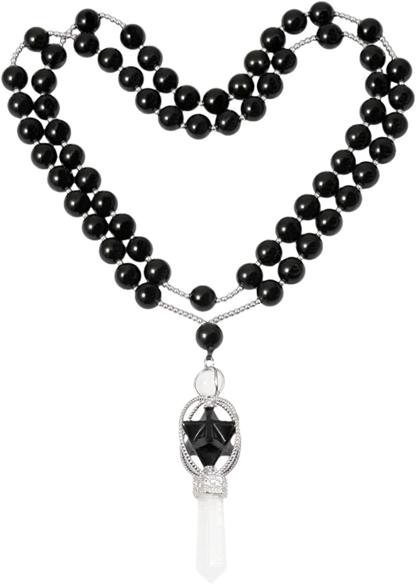 SUNYIK Natural Spinning Merkaba Star Chakra Pendant Necklace for Women Men, Hexagonal Prisms Stone Point Reiki Healing Crystal Magic Wand, 13.5