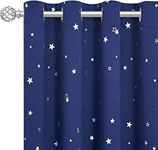 RYB HOME Kids Blackout Curtains - Grommet Curtains for Children's Bedroom Star Curtains Privacy Window Treatment Drapes fo...