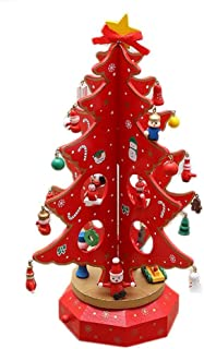 Pysod Christmas Music Box Wooden Christmas Tree Rotating Music Box Christmas Tree Music Toy Christmas Decoration