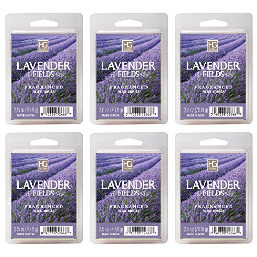 Hosley Lavender Fields Wax Cubes - Set of 6/2.5 oz Each. Hand Poured Wax Infused with Essential Oils. Bulk Buy. Ideal for Weddings, Special Occasions, Parties, Spa, Reiki, Meditation Settings W1