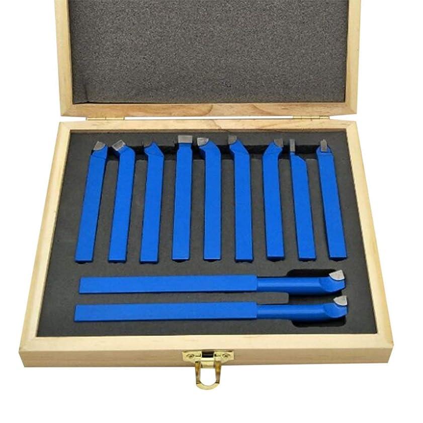 選ぶ夫婦実質的Saikogoods 金属旋盤ツーリング溶接タイプ旋盤ビット炭化タングステンのヒントに設定された切削11pcs超硬チップチップソーカッターツールビット 青