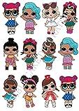 Großer Tortenaufsatz in L.O.L.-Puppen-Form, verschiedene Charaktere, stehend, aus Esspapier,...