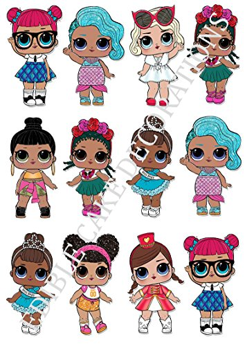 12 x LOL Dolls Characters Large Party STAND UP Edible Paper Cupcake Toppers Cake Decorations