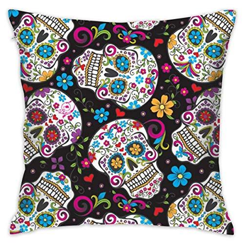 Elsaone Sugar Skulls Mexican Art Throw Pillow Cases Funda de cojín Decorativa Familiar para Interiores o Exteriores 18 X 18 Pulgadas 45 X 45 cm