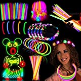 54Pack Glow Sticks Party Pack Supplies Glow In The Dark-50 Glowsticks Necklaces Bracelets Bulk 4 LED Light Up Flower Crowns Headpiece for Women Girls Neon Mardi Gras Carnival Birthday Party Favors