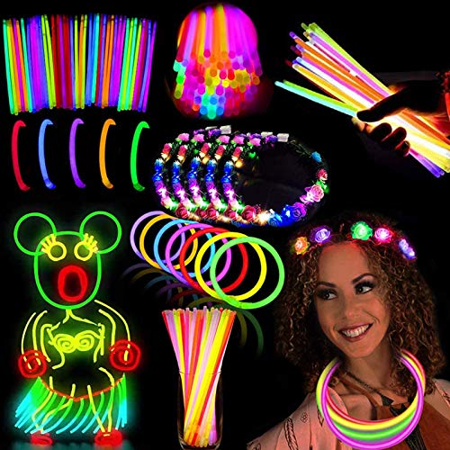 54Pack Glow Sticks Party Pack Supplies Glow In The Dark-50 Glowsticks Necklaces Bracelets Bulk 4 LED Light Up Flower Crowns Headpiece for Women Girls Neon Carnival Birthday Halloween Party Favors