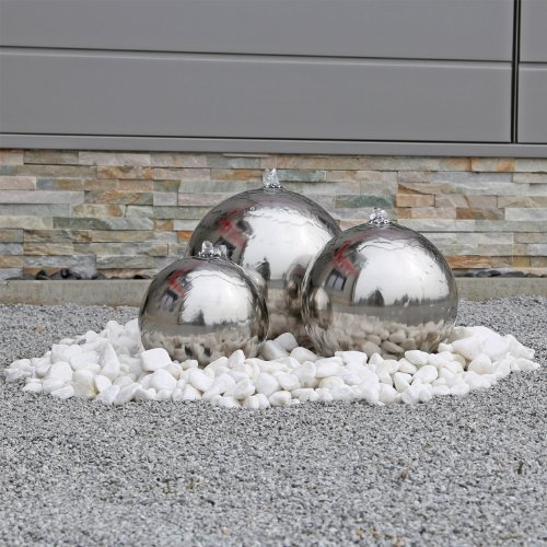 Edelstahl Kugelbrunnen ESB2 Gartenbrunnen inkl. LED Beleuchtung mit 3 Edelstahl Kugeln poliert, Komplettset mit Pumpe, Wasserbecken, LED Leuchten, Verteilern und Schläuchen, Außenbereich, 12V AC