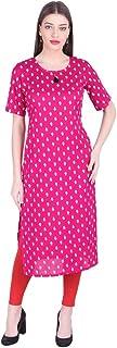 سترة نسائية من Vihaan Impex من القطن طويل مطبوع عليه فستان حفلات كورتيز للنساء وردي
