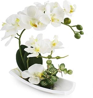 RENATUHOM Artificial Orchid Flower Arrangements with Porcelain Vase Bonsai Artificial Flowers for Decoration Orchid Plant ...