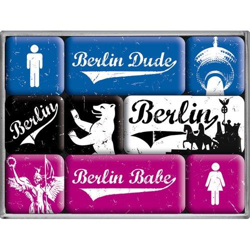 Nostalgic-Art 83043 City Style Berlin Babes und Dudes, Magnet-Set, 9-teilig