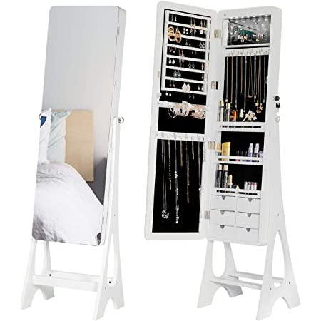 Yoleny Floor Standing Jewelry Armoire Frameless Full Length Mirror Lockable Design Angle Adjuestable Jewelry Organizer Large Capacity Dressing Mirror Makeup Jewelry Cabinet With Led Lights Home Improvement