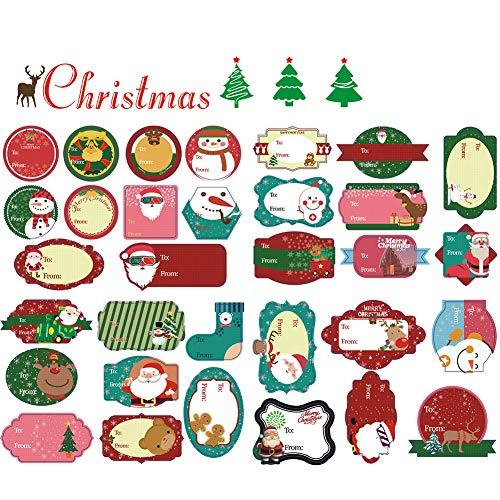 192 piezas Regalo de Navidad Etiquetas adhesivas Etiquetas autoadhesivas con Papá Noel Muñecos de nieve Árbol de Navidad Pegatinas de ciervos para etiquetas de regalos