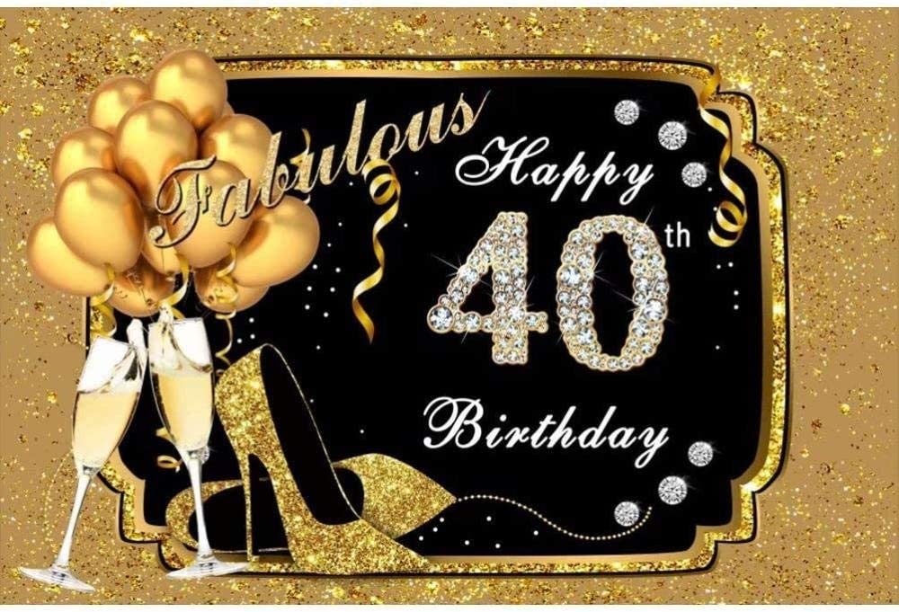 New Ladies 40th Birthday Backdrop 7x5ft High Heels Birthday Party Decoration Champagne Photos Balloons 40th Birthday Photography Background Ladies Birthday Portraits Digital Studio Props