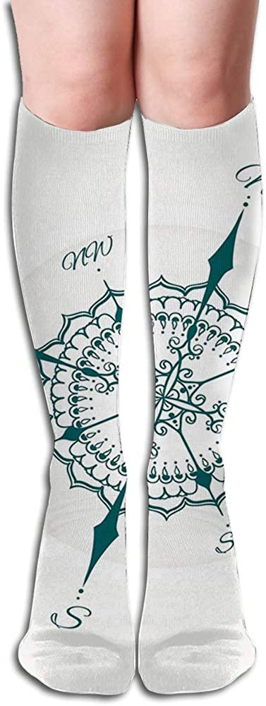Men's and Women's Funny Casual Combed Cotton Socks,Hand Drawn Compass with Floral Arrangement Design Compass Boating Theme Print