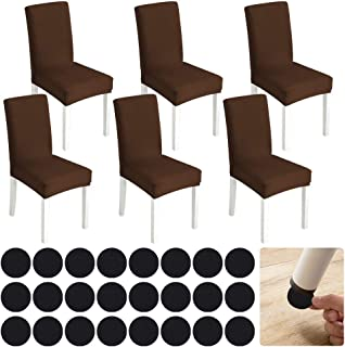 eZakka - Funda para silla de 6 piezas + cojines de Floor Protectores de 25 piezas, funda de comedor para un ajuste universal, ramo o hotel, decoración de restaurante