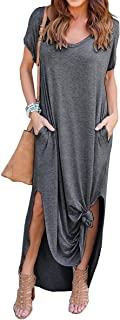 ZIOOER Women's Summer Casual Loose Dress Short Sleeve V Neck Spilt Maxi Dresses with Pockets