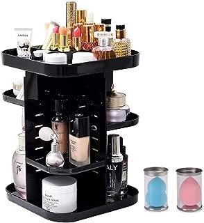 Rotating Makeup Organizer, Cosmetics Storage Box, Perfume Display Stand Box, Makeup Brush Holder for Countertop, Vanity, Bathroom, Black