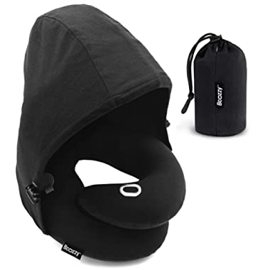 BCOZZY Inflatable Hoodie Travel Pillow, Patented Neck & Chin Support for Comfortable Sleep on Airplane & Car Rides, Compact & Lightweight, Machine Washable Cover, Carry Bag, 100% Cotton. Adult, Black