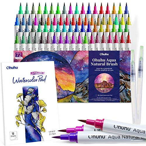Watercolor Brush Markers Pens Set, Ohuhu 72 Colors Water-based Paint Marker with 12-Sheet Watercolor Pad & A Blending Aqua Brush, Nylon Brush Tip for Coloring Calligraphy Drawing Christmas