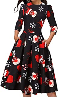 Dainzuy Womens Ugly Christmas Dresses Santa Claus Print O-Neck A-Line Dresses with Pockets Flare Swing Party Dress