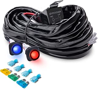 MICTUNING Heavy Duty 300W 2-Circuit Led Light Bar Wiring Harness Kit w/Fuse, 60Amp Relay, DUAL Waterproof Switches Red Blue