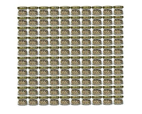 100er Set Sturzgläser Mini Gläser | Füllmenge 30 ml | Deckelfarbe Gold | To 43 Rundgläser Marmeladengläser Obstgläser Einweckgläser Honig Gläser Einmachgläser Portionsgläser Probiergläser Imker