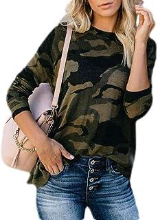 GUOCAI Women's Tops Zip Front Camo Print Long Sleeve Side Split T-shirt Blouse