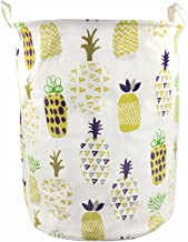 Orino 19 x 16.5 inches Extra Large Canvas Fabric Folding Storage bin with Handle Waterproof Home Decor Laundry Hamper Orga...