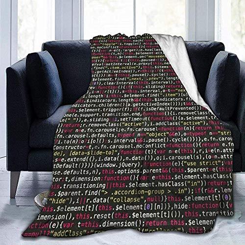 DWgatan Couverture,Couvre-lit de canapé Polyvalent Doux et Chaud de qualité Programmer Programming Code Printed Blanket for Bedroom Living Room Couch Bed Sofa -80\
