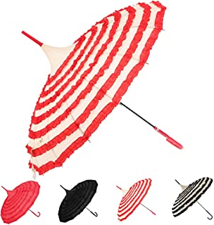 Outgeek Ladies Sunproof Umbrella Parasol Lace Flowers Pagoda-Shaped Victoria Style Long Handle(Red and White)
