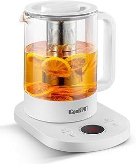 کتری شیشه ای الکتریک چای ساز 1.5 لیتری با 10 صفحه از پیش تنظیم یک لمسی ، گرم باشید