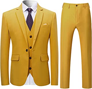 Allthemen Tute da Uomo Tute da Uomo Slim Fit 3 Pezzi Tuta da Uomo One Button Formal Suit Giacche Blazer Gilet