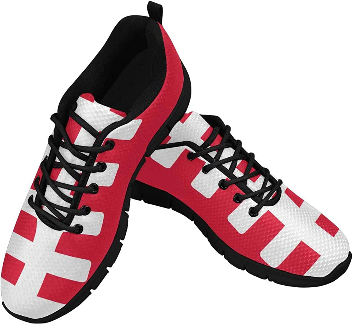 INTERESTPRINT American Football Field Sports Light Red Women's Athletic Mesh Breathable Casual Sneaker