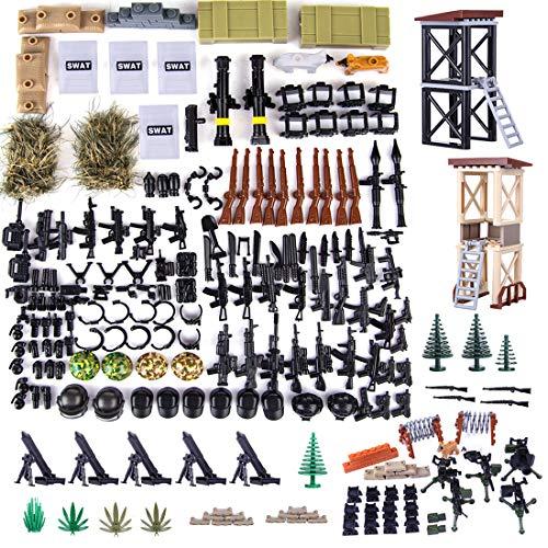 ZCXX Casco + armas personalizadas para soldados SWAT Team Mini figuras de policía, compatible con Lego