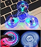 Wooce Led Finger Spinner Toy Hand Spinner Toy Finger Spinner Toy EDC Metal Stress Reducer for ADHD ADD Anxiety Autism (Crystal Blue)