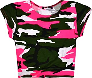 Aelstores Girls Neon Camouflage Leggings Crop Top T-Shirt New Full Length Camo Print Pants Short Sleeve Top Set Ages 5-14 Years
