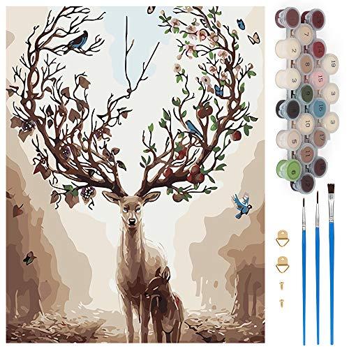 Pintar por Numeros, Pintura por Números Ciervo Kits, Cuadro Pintar con Numeros para Adultos/Niños, Pintar por Números Decoraciones para el Hogar (Sin Marco, 40x50CM)