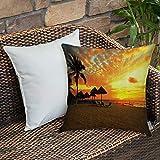 Dekokissen Kissenhülle,Set am Meer, Sonnenuntergang Szene im Beach Resort Silhouette romantische...