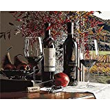 YANXIN DIY Paint by Numbers Adults,16x20 Inch Canvas Painting by Numbers,Creative Wall Art Home Décor Red Wine YX8001-3381
