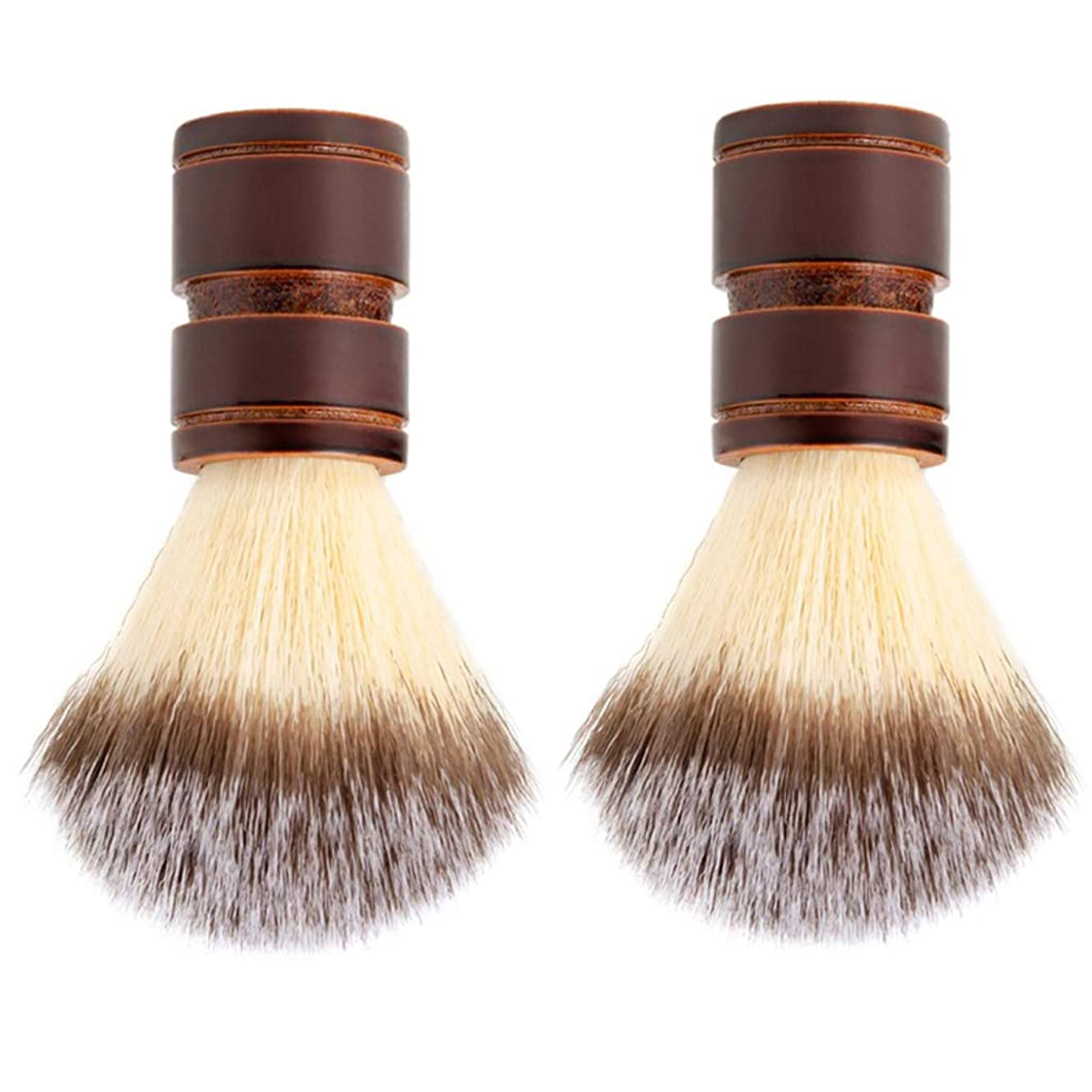 知らせる上陸書誌dailymall 木のハンドルが付いている2xナイロン毛の剃るブラシ個人的な専門の剃る