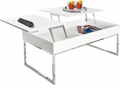 Esidra 9355–01Table avec Plan supérieur démontable, Acier chromé, Blanc, 110x 60x 45cm