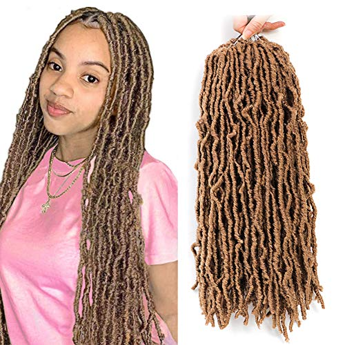 Nu faux locs 18 inch 6 Packs Goddess Faux Locs Curly Wavy Crochet Synthetic Braiding Hair Extensions Dreads Crochet Hair 18 inches (18 inch, 27#)