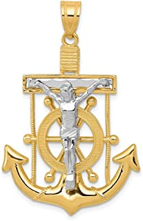 14k Two Tone Yellow Gold Nautical Anchor Ship Wheel Mariners Cross Religious Pendant Charm Necklace Crucifix Mariner Fine ...