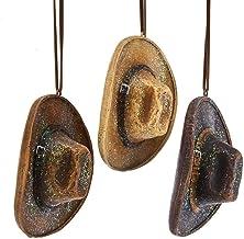 Kurt Adler Cowboy Hat Natural Brown 4 inch Resin Stone Christmas Ornaments Set of 3