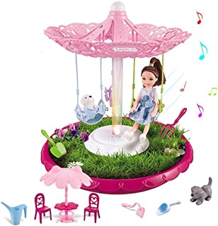 Pretend rotating princess garden building toy for kids with music and lights and princess doll